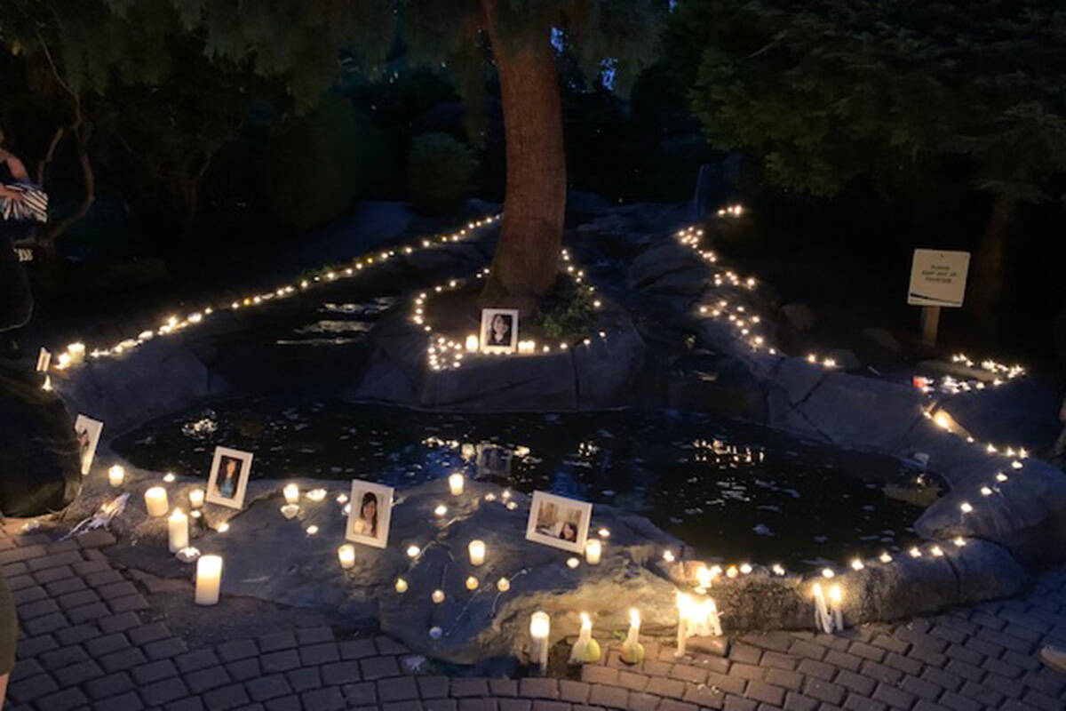 Hundreds gathered at Sendall Gardens in Langley on Sunday around 7 p.m. to light a candle for Naomi Onotera, who was last seen Aug. 28, 2021. (Maryann Eyjolfson/Special to Langley Advance Times)