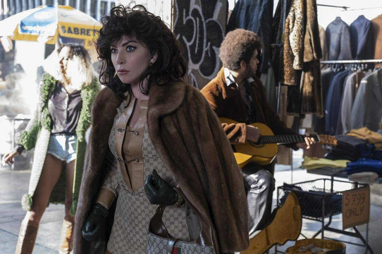 """This image released by MGM shows Lady Gaga as Patrizia Reggiani in a scene from """"House of Gucci,"""" releasing on Nov. 24. (MGM via AP)"""