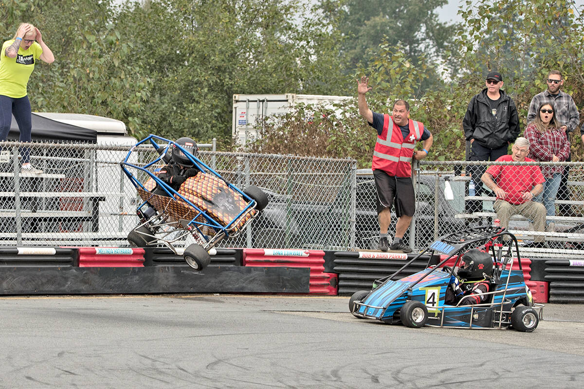 Photographer William Snow captured the moment when young Chilliwack racer Dennis Ringrose escaped injury despite going airborne during a race at the Langley Quarter Midget Association (LQMA) on Sunday, Sept. 5. It was the first Northern Shootout hosted by the association since the pandemic hit. (William Snow/special to Langley Advance Times)