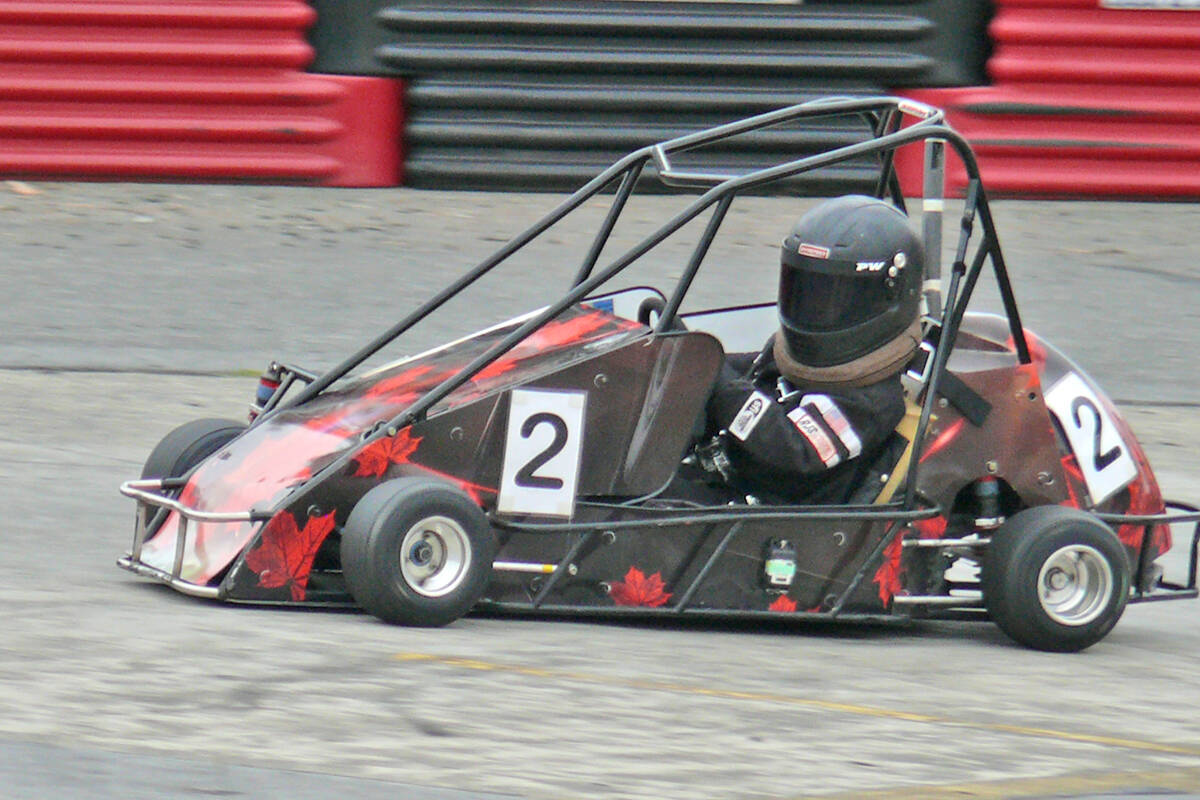 One of more than 70 young racers who took part in the Langley Quarter Midget Association (LQMA) Northern Shootout on the weekend. (Dan Ferguson/Langley Advance Times