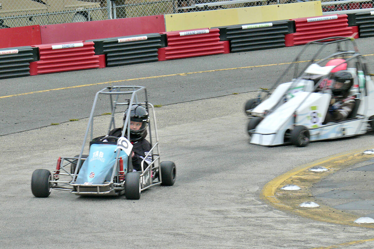 A young racer takes the curve at the Langley Quarter Midget Association (LQMA) Northern Shootout on the weekend. (Dan Ferguson/Langley Advance Times)