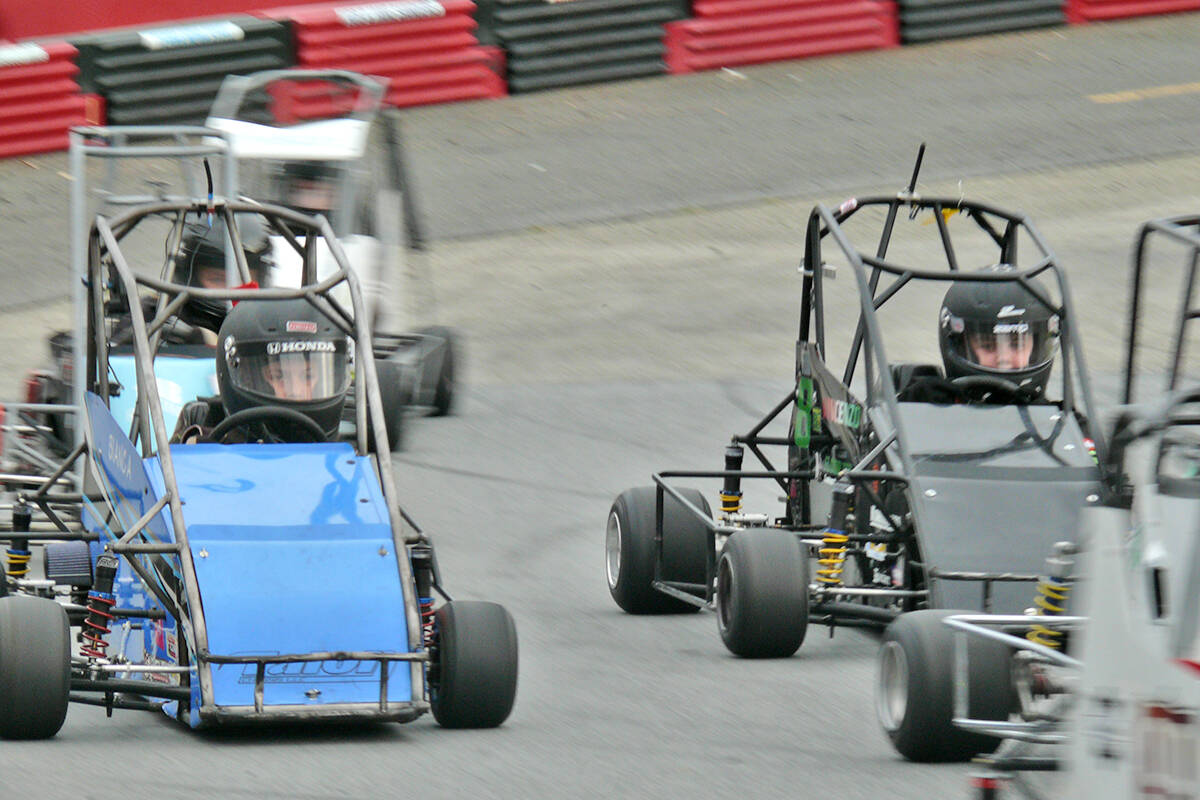 Young racers joust for position during a race at the Langley Quarter Midget Association (LQMA Northern Shootout on the weekend. (Dan Ferguson/Langley Advance Times)