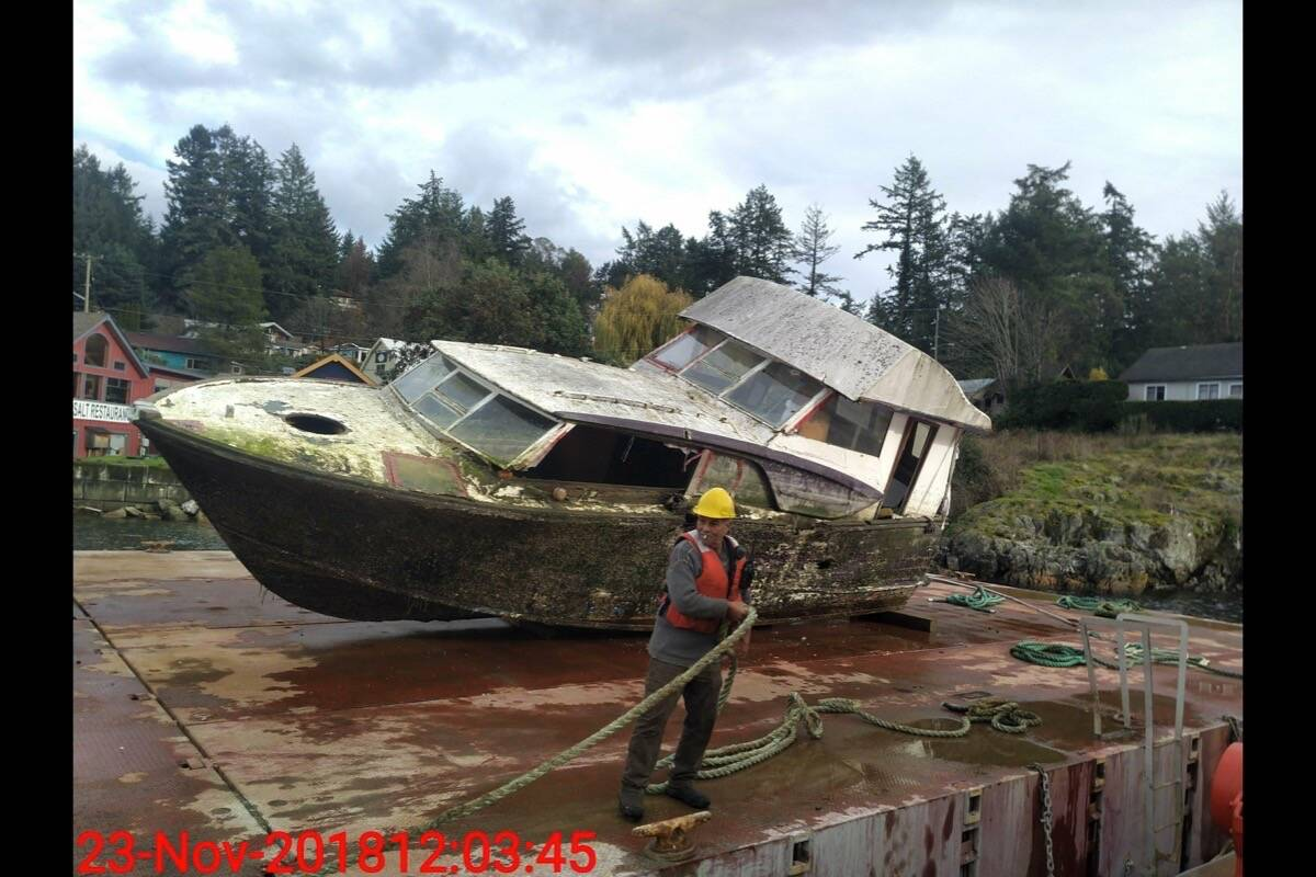 On Vancouver Island, the Dead Boat Disposal Society works with a company operated by the Songhees and Esquimalt First Nations to remove derelict boats from local waterways. (contributed)