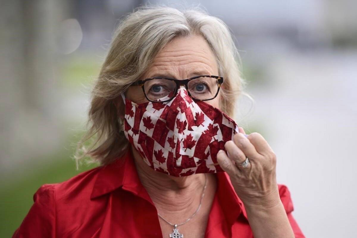 Green Party MP Elizabeth May arrives on Parliament Hill in Ottawa on Thursday, Sept. 24, 2020. THE CANADIAN PRESS/Sean Kilpatrick