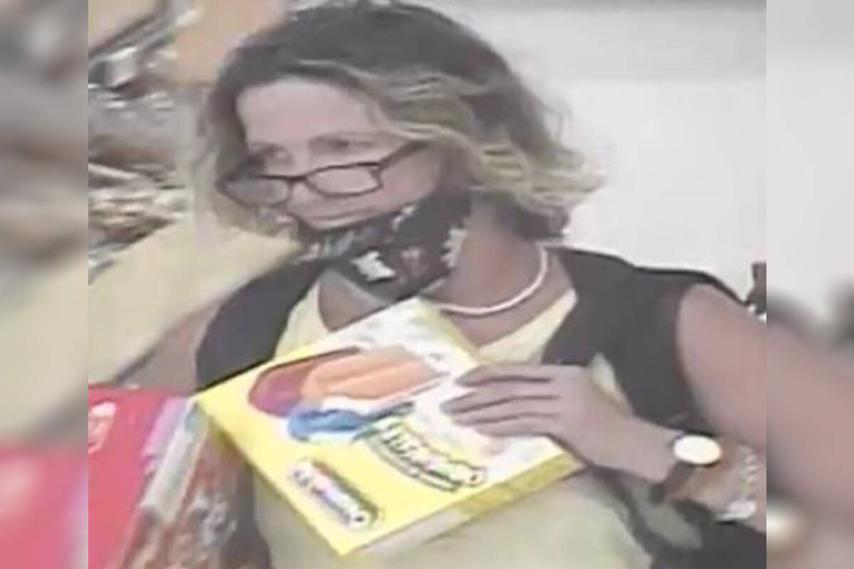 Police allege the pictured female stole over $200 in product from Superstore on July 27, 2021. (Langley RCMP)