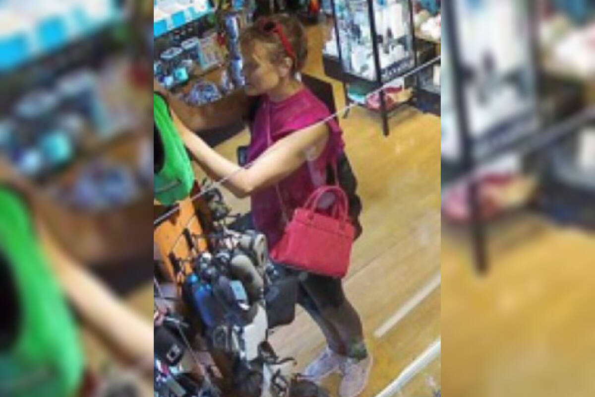 It is alleged the pictured woman stole items from Hempyz Gifts and Novelties on Aug. 10, 2021. (Langley RCMP)