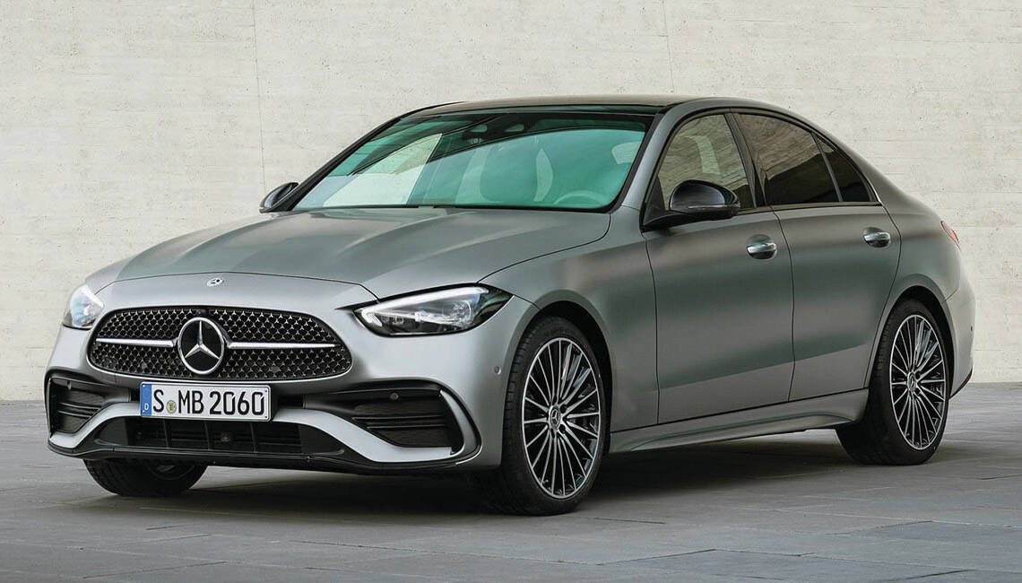 The drooping nose and tail tells you this is a Mercedes-Benz, but which one? The new C Class resembles many other Mercedes sedans. PHOTO: MERCEDES-BENZ