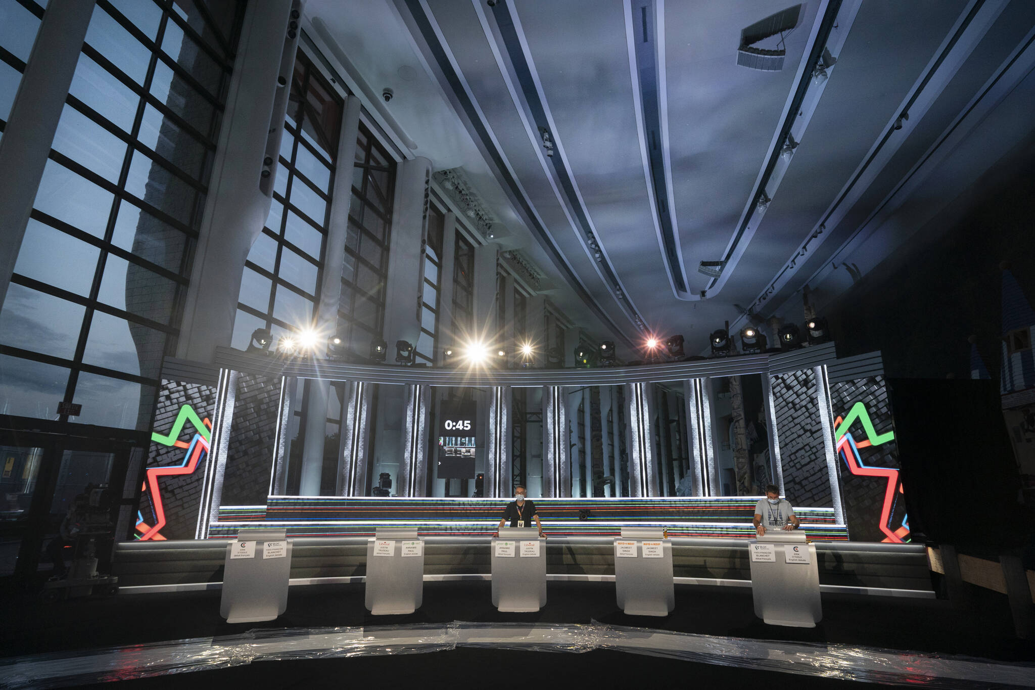 A view of the set for the French language federal election leaders' debate is shown at the Museum of Canadian History in Gatineau, Que. on Monday, Sept.6, 2021. THE CANADIAN PRESS/HO-Radio-Canada/Ivanoh Demers