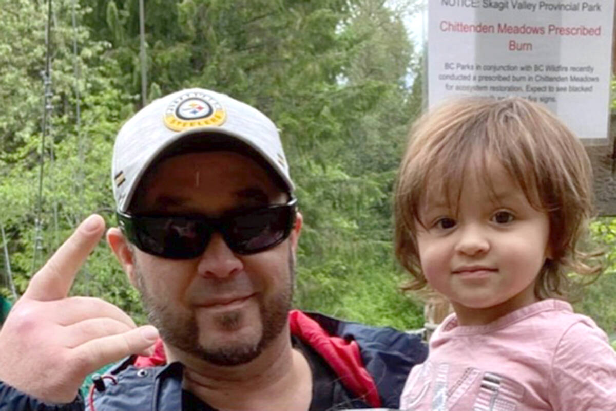 Aldergrove's Dan Edge (left) died from a heart condition leaving behind his two daughters and new granddaughter. His family has organized a GoFundMe campaign. (John Cousin/Special to Langley Advance Times)