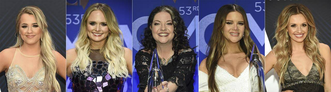 This combination of photos shows nominees for the CMA Award for female vocalist, from left, Gabby Barrett, Miranda Lambert, Ashley McBryde, Maren Morris and Carly Pearce. (AP Photo)