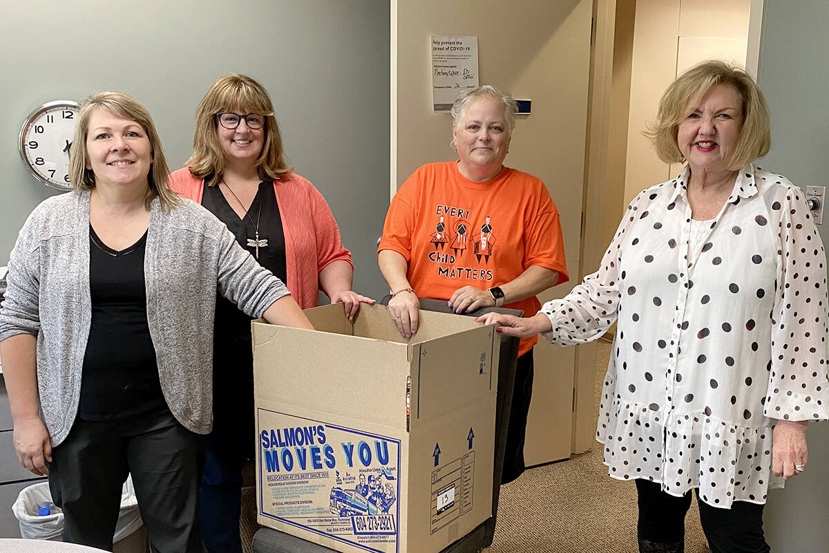 """Collette Bohach, Mardel Donnelly Rena Andronek, and Maureen Berlin all lend a hand packing up the offices at Ishtar Women's Resource Society as staff moved to a new space at<tcxspan tcxhref=""""tel:2232031656"""" title=""""Call 223-20316 56 with 3CX Click to Call""""> 223-20316 56 </tcxspan>Ave. (Joti Grewal/Langley Advance Times)"""