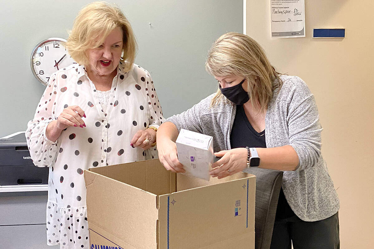 """Maureen Berlin, the new executive director of Ishtar Women's Resource Society, and executive assistant Collette Bohach packed up the offices to move to a new space at<tcxspan tcxhref=""""tel:2232031656"""" title=""""Call 223-20316 56 with 3CX Click to Call""""> 223-20316 56 </tcxspan>Ave. (Joti Grewal/Langley Advance Times)"""