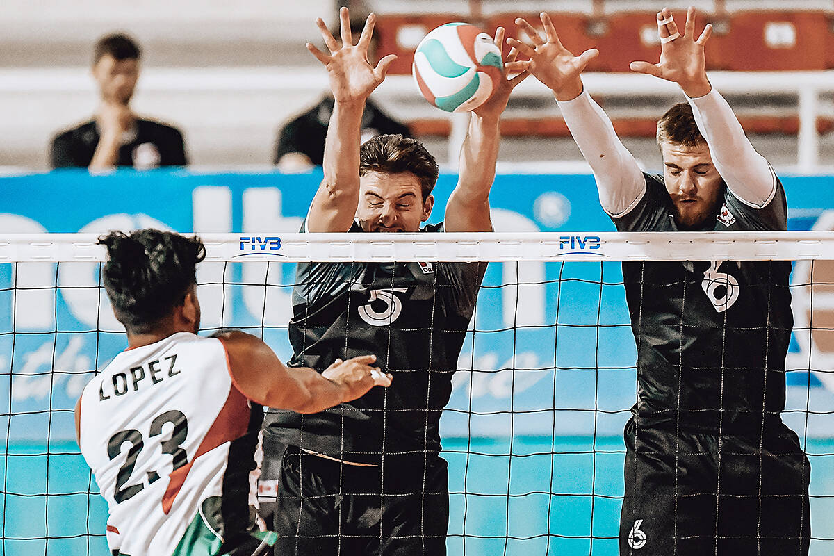 TWU Spartans men's volleyball team represented Canada in the Pan-Am Cup in the Dominican Republic, winning silver on Thursday. The team included Brodie Hofer of Langley (left). (TWU/Special to Langley Advance Times)