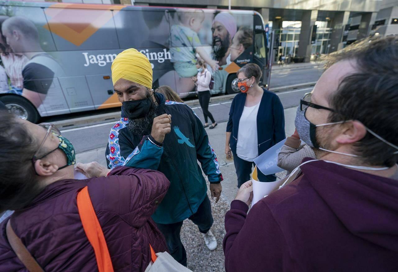 NDP Leader Jagmeet Singh makes a campaign stop in downtown Ottawa, Friday, September 10, 2021. THE CANADIAN PRESS/Jonathan Hayward