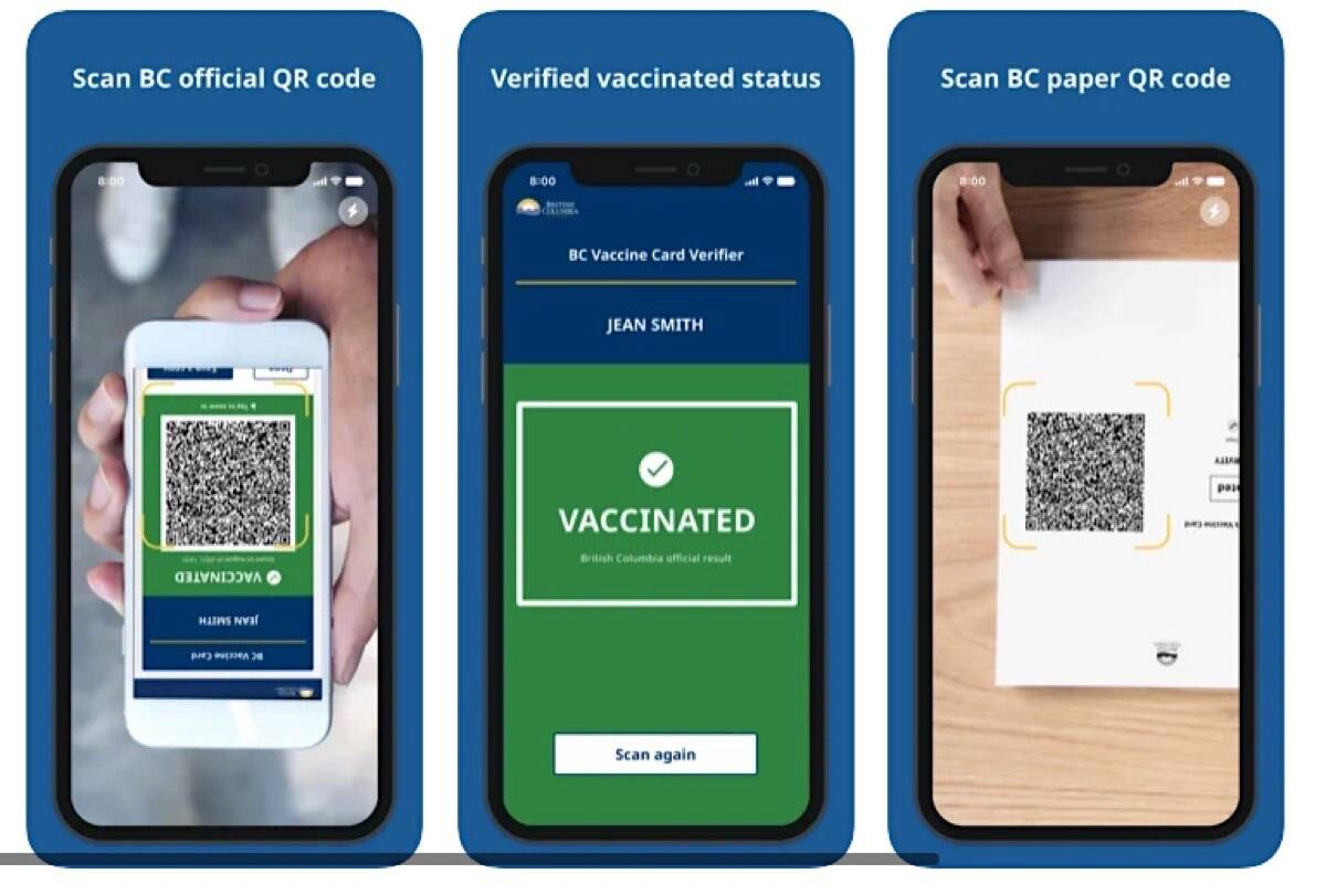 Smartphone app scans QR code from a digital or printed copy of the B.C. vaccine card, confirming vaccine status without showing government identification. (Apple app store images)