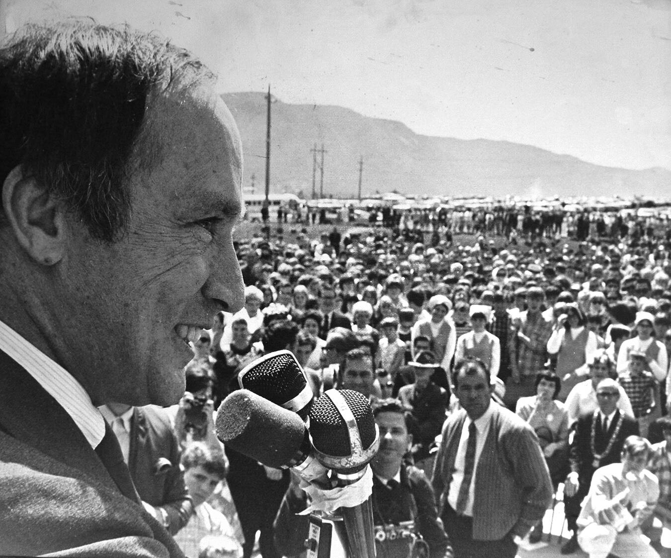 In 1968, Prime Minister Pierre Trudeau paid a visit to Selkirk College. Which term, used by him in 1971, later became a Canadian phrase? (File photo)