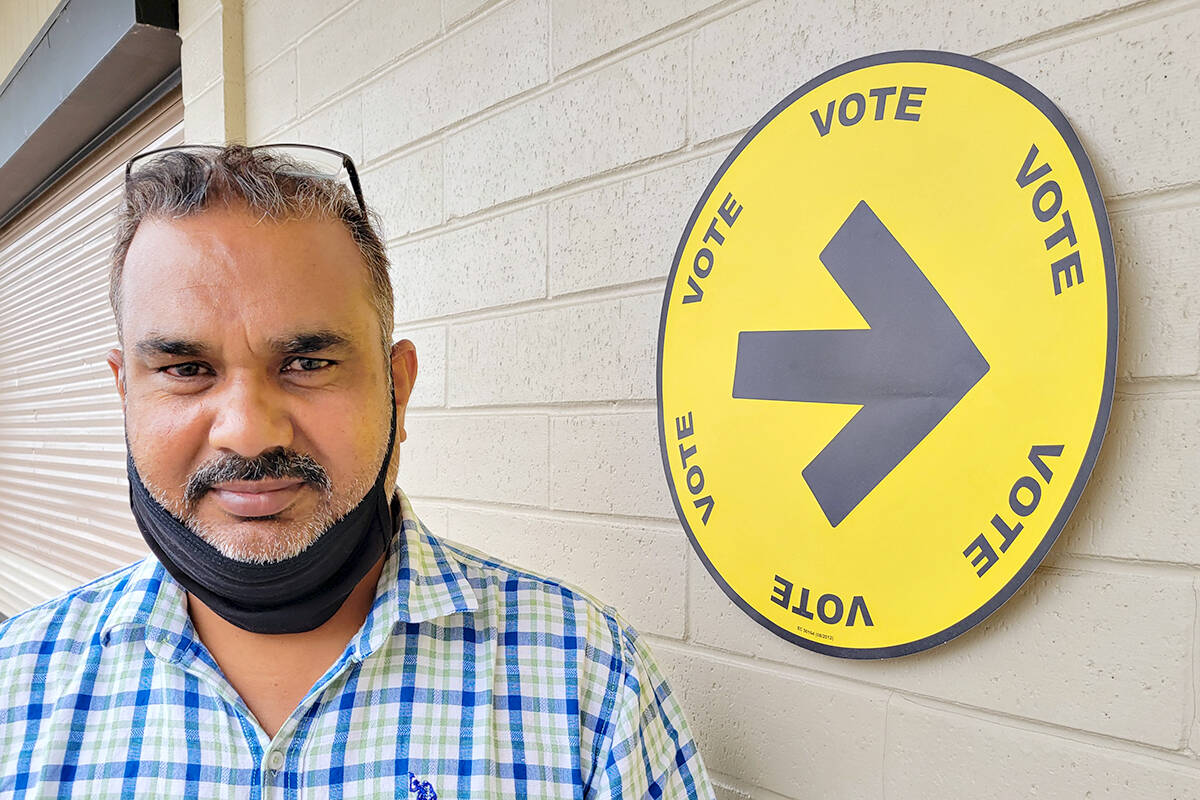 Aldergrove resident Mohinder Nagra was among those casting an early ballot on Saturday. Because of the Good Times Cruise-in event, the Aldergrove polling stations was moved from ACSS to nearby Betty Gilbert middle school. (Dan Ferguson/Langley Advance Times)
