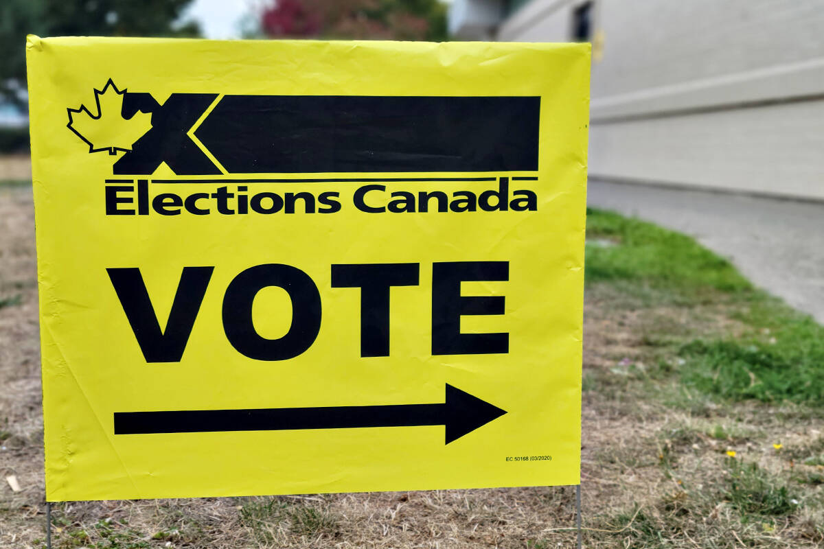 Sign at Betty Gilbert Middle School advance polling station. (Dan Ferguson/Langley Advance Times)