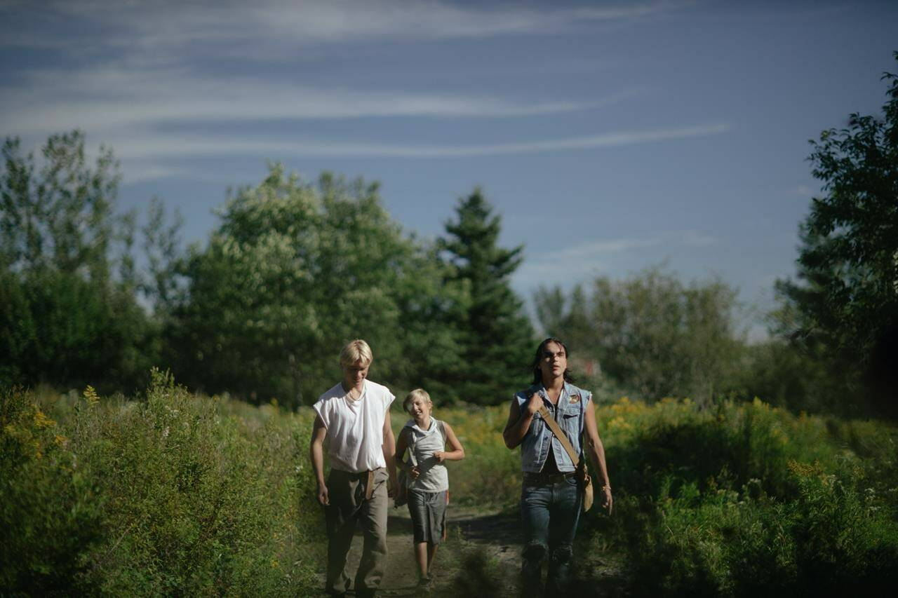 """Actors Phillip Lewitski, left to right, Avery Winters-Anthony and Josh Odjick are shown in a scene from the film """"Wildhood,"""" in a handout photo. THE CANADIAN PRESS/HO-Riley Smith **MANDATORY CREDIT**"""