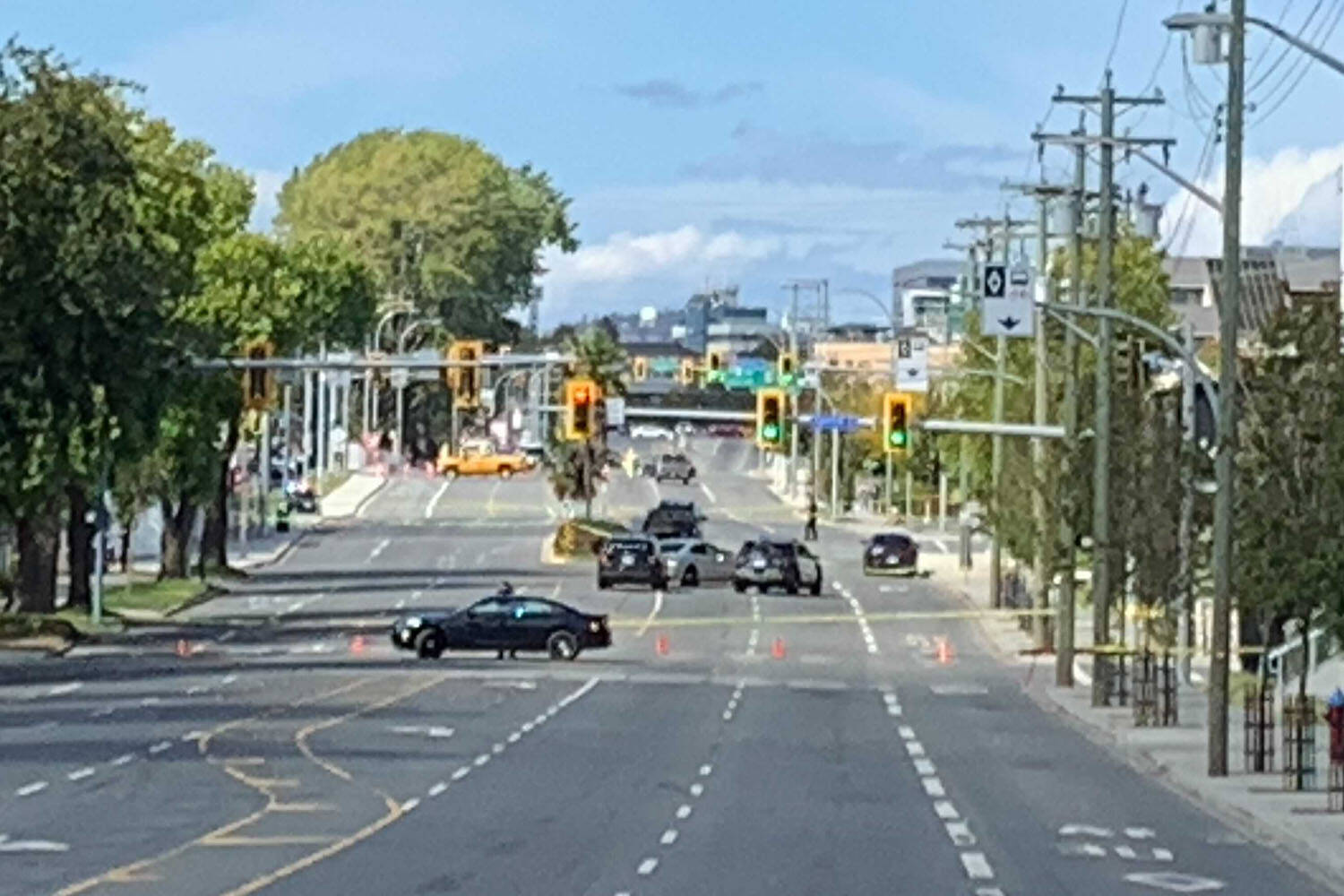 The intersection of Douglas Street and Tolmie Avenue was the scene of a police incident at the border between Victoria and Saanich Sept. 12 where a man was shot dead by police. (Kiernan Green/News Staff)