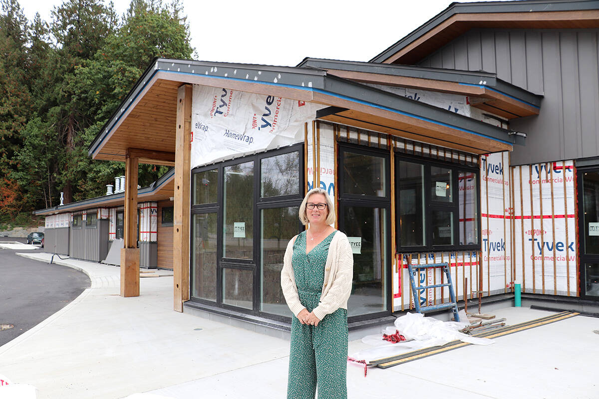 """Shannon Todd Booth, communication and funds development manager with the Langley Hospice Society, outside the under construction 15-bed Langley hospice residence on Friday, Sept. 10, 2021. The Township of Langley Firefighters' Charitable Society is donating a portion of proceeds from the third annual Mayor's Charitable Gala to the Langley Hospice Society to help """"warm up the tub and turn on the lights"""" at the new residence. (Joti Grewal/Langley Advance Times)"""