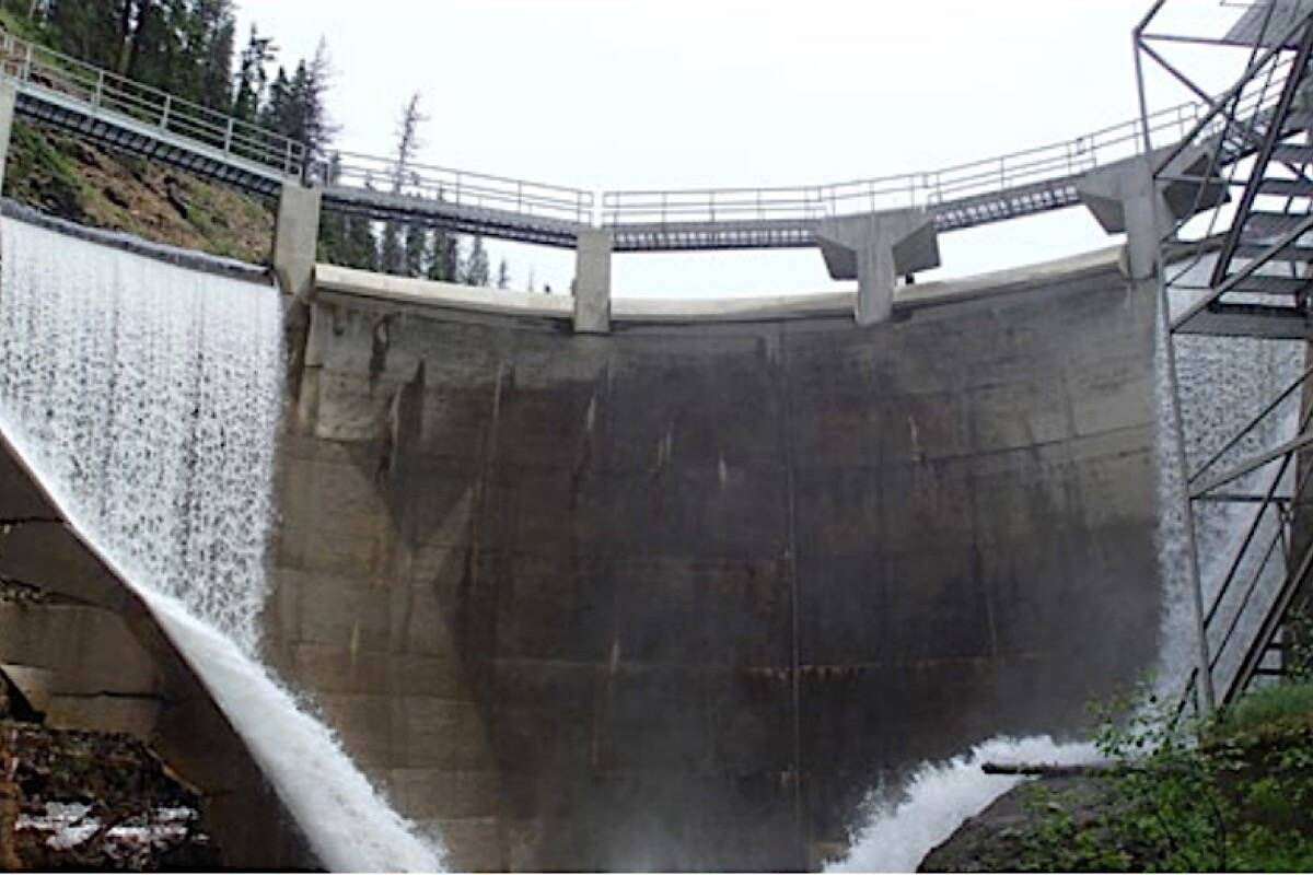 """Mark Creek dam in the Kootenays is one of the """"extreme consequence"""" dams identified in B.C. Auditor General Michael Pickup's report on dam safety. (B.C. government photo)"""