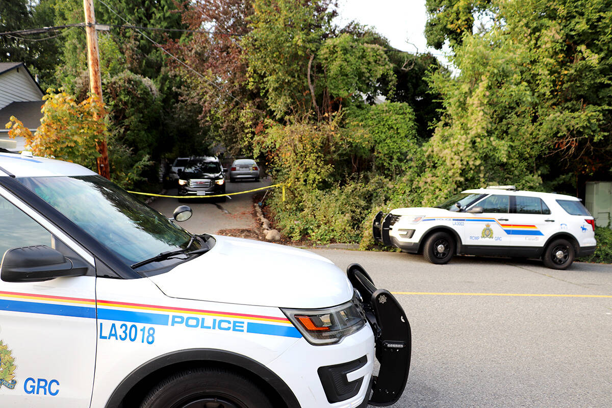 Langley RCMP were on scene at Naomi Onotera's home in Langley City Tuesday morning, Sept. 14, 2021. (Joti Grewal/Langley Advance Times)