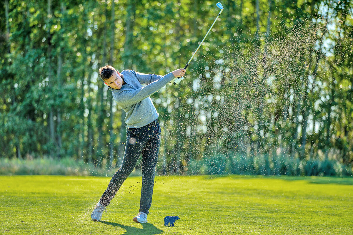 Fort Langley's Jackson Jacob led the charge for the University of the Fraser Valley (UFV) men's golf team at the Alberta Bears and Pandas Invitational at Northern Bear Golf Course in Sherwood Park, on Monday, Sept. 12. He fired rounds of 69 on Sunday and 72 on Monday to finish at three under par, to take top spot in the individual standings. (Brad Hamilton/Alberta Athletics)