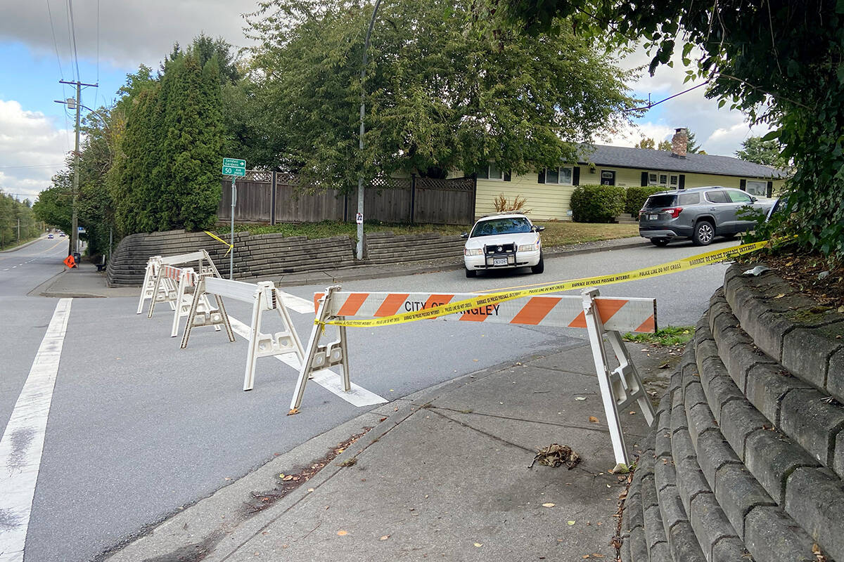 Several police vehicles arrived outside missing Langley woman Naomi Onotera's home Wednesday morning, Sept. 15, 2021 around 10:30 a.m. RCMP confirmed a search of the residence was to take place. (Mike Kirby/Special to Langley Advance Times)