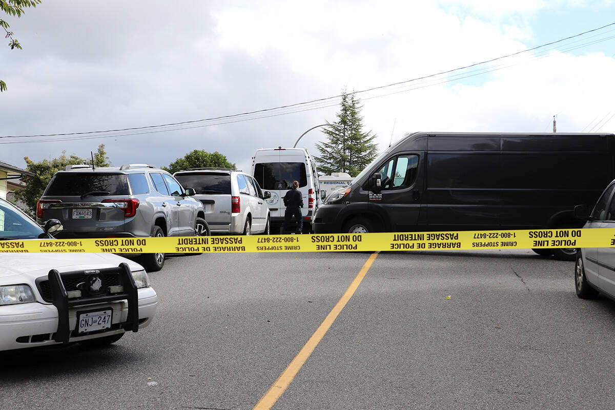 Homicide detectives, alongside RCMP and forensic investigators, were seen gathering evidence from Naomi Onotera's home on Wednesday, Sept. 15, 2021. The Langley mother was reported missing nearly three weeks ago on Aug. 28, 2021. (Joti Grewal/Langley Advance Times)