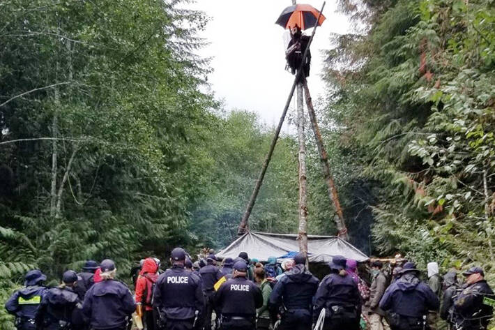 RCMP officers gather in front of a tripod erected by protesters on the Granite Mainline Forest Service Road in the Fairy Creek watershed on Tuesday, Sept. 14. (RCMP photo)
