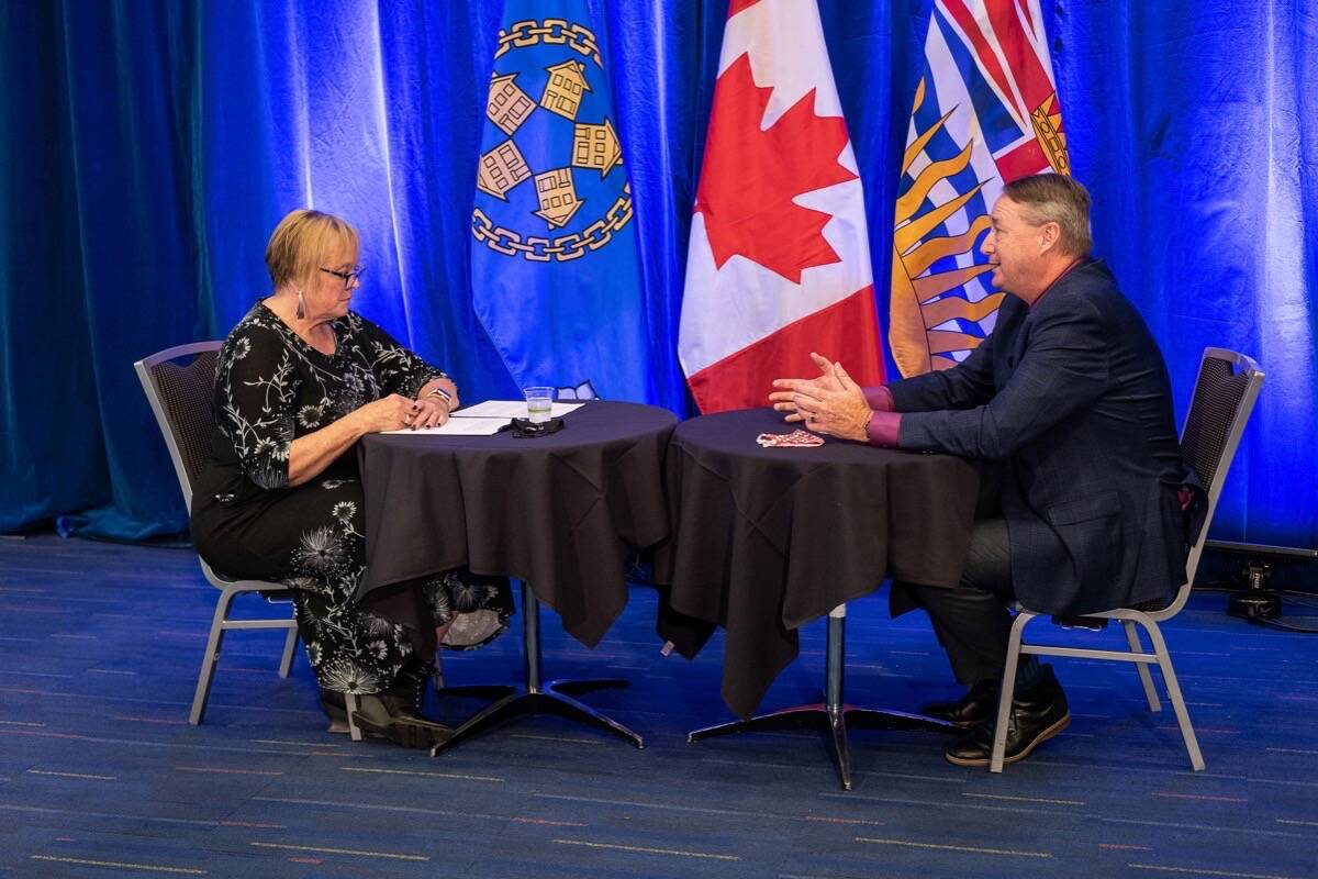Quesnel Coun. Laurey-Anne Roodenburg, vice-president and Vanderhoof Coun. Brian Frenkel, president, prepare for virtual session of the Union of B.C. Municipalities in Vancouver, Sept. 14, 2021. (UBCM photo)