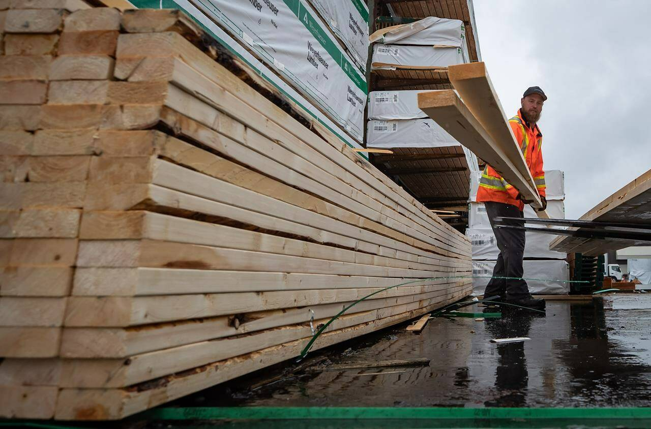 Doug Howson loads lumber onto a forklift at Haney Builders Supplies, in Maple Ridge, B.C., on June 12, 2020. THE CANADIAN PRESS/Darryl Dyck