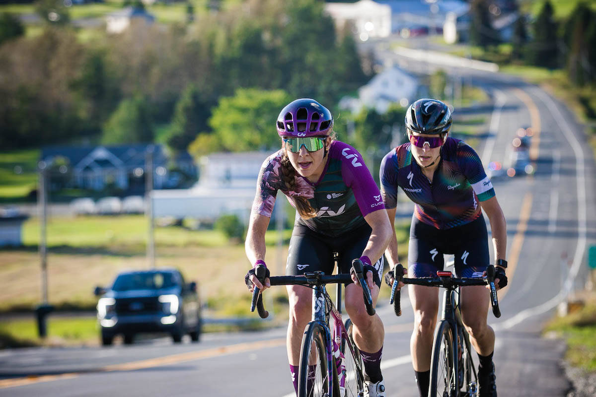 TWU Spartan alum Alison Jackson and Maghalie Rochette at the front of the Canadian Road Championships. (Vincent Drouin/Cycling Canada)
