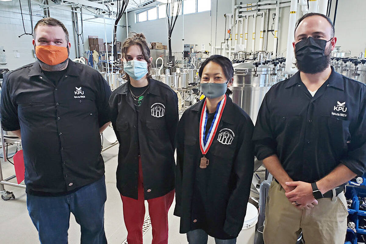 KPU brewing students and bronze-medal winners, left to right, Kevin Reid, Kayla Gibson, Waka Sakurai, and Philip Chrinko. (photo KPU)