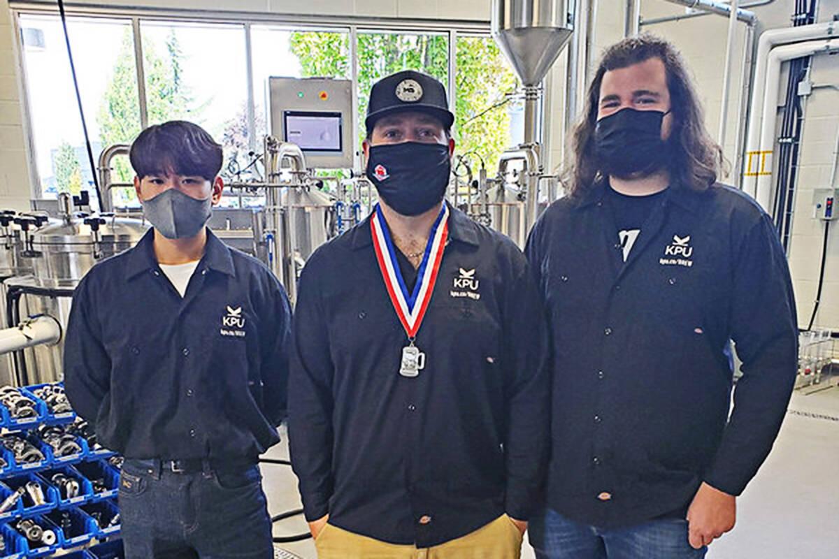 KPU silver winners, left to right, are Donghwan Chang, Jacob Wideman, and Colton Yakabuski. (KPU photo)
