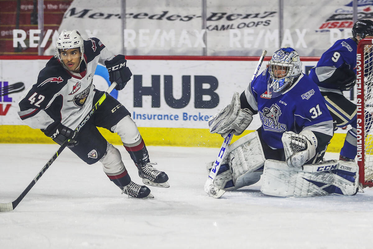 Vancouver Giants forward Justin Sourdif skates by Victoria Royals goaltender Adam Evanoff during the Giants' 6-1 win on Tuesday, May 11, in the team's final game of the abbreviated WHL season. The Giants season opener will now be against the Royals. (submitted photo: Giants/Doug Sage)