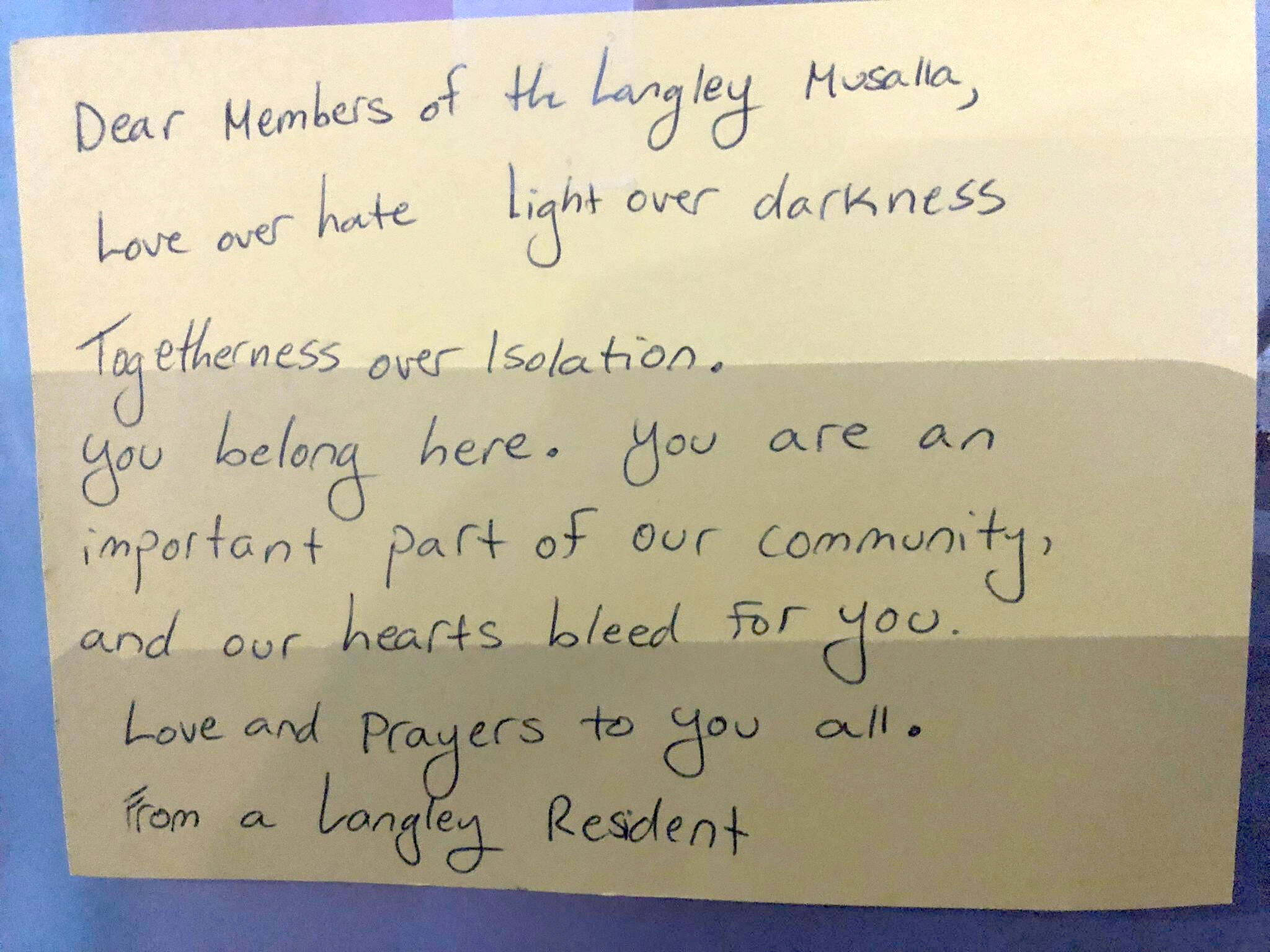 Letters and calls of solidarity and encouragement have been coming in to the Langley Islamic Centre in the wake of a threat last month. (Langley Islamic Centre photo)