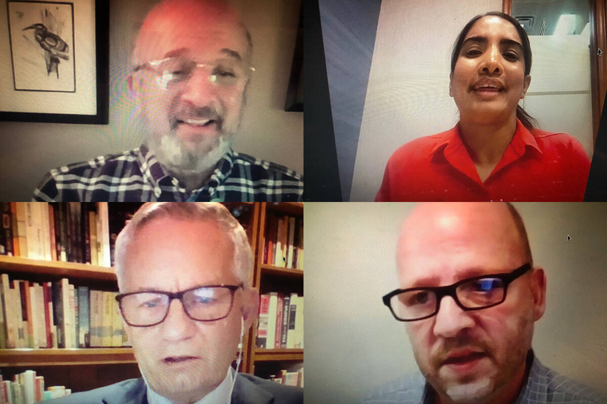 Participating in a virtual forum on Wednesday night were federal Abbotsford riding candidates (clockwise from top left) Stephen Fowler (Green Party), Navreen Gill (Liberal), Kevin Sinclair (People's Party) and Ed Fast (Conservative). (Vikki Hopes/Abbotsford News)