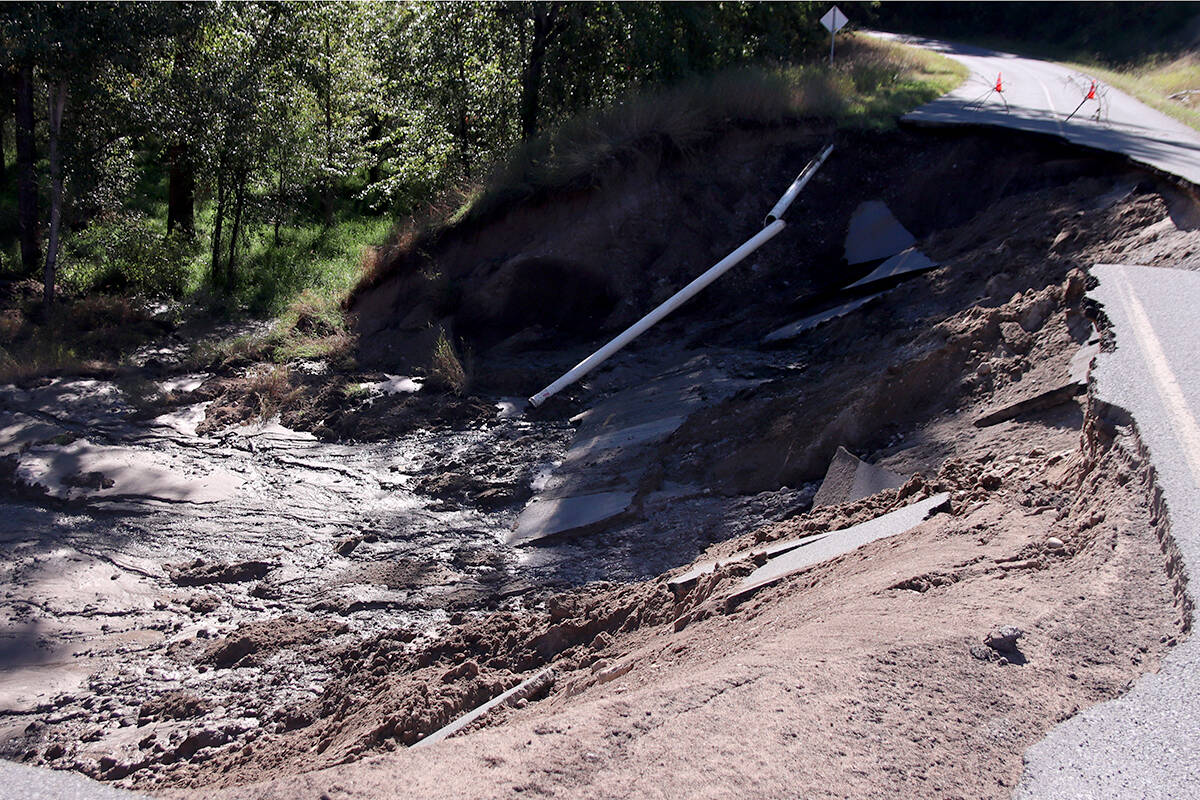 Water was still flowing underneath the section of washed-out road as of Thursday morning, Sept. 16. Photo: Laurie Tritschler