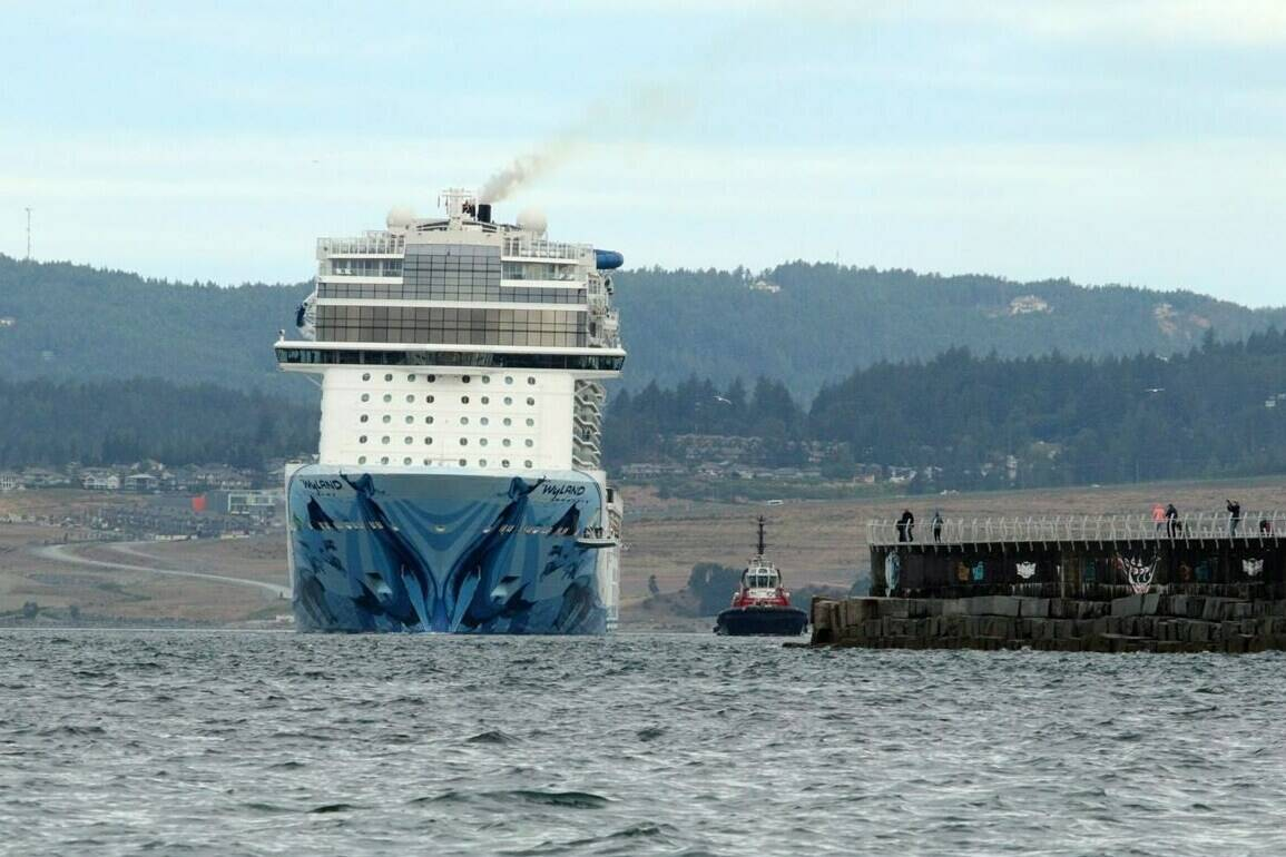 """The Norwegian Bliss en route from Alaska to Seattle makes it's way towards Ogden Point in Victoria, B.C., on Friday June 1, 2018. Two U.S. bills proposed by a congressman and senator aimed at allowing Alaskan-bound cruise ships to bypass Canadian ports would have a """"devastating"""" affect on British Columbia's economy, the head of Victoria's harbour authority says. THE CANADIAN PRESS/Chad Hipolito"""