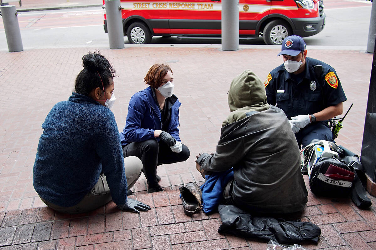 San Francisco's Street Crisis Response Team was created in 2020 to find meaningful solutions to homelessness and addiction. Victoria is in the process of creating a similar team, drawing on the lived experience of peers. (Courtesy San Francisco Department of Public Health)