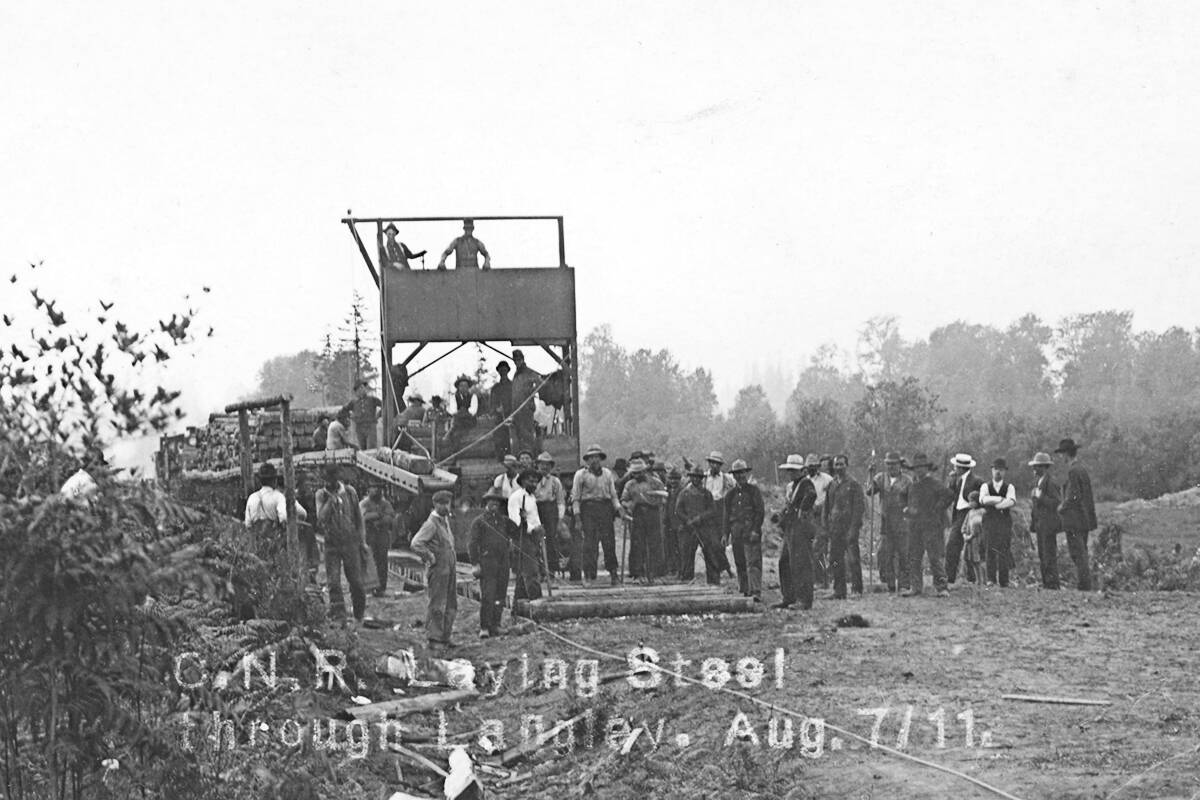 The CN Rail lines being laid through Langley in 1911. The tracks would cut through the properties now needed for the Trans Mountain right of way. (Langley Centennial Museum collection)