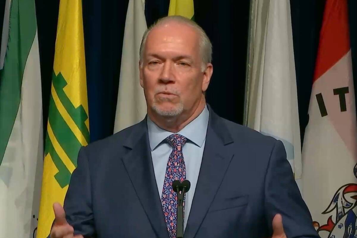B.C. Premier John Horgan takes questions from municipal politicians at the Union of B.C. Municipalities convention in Vancouver, Sept. 17, 2021. (UBCM video)