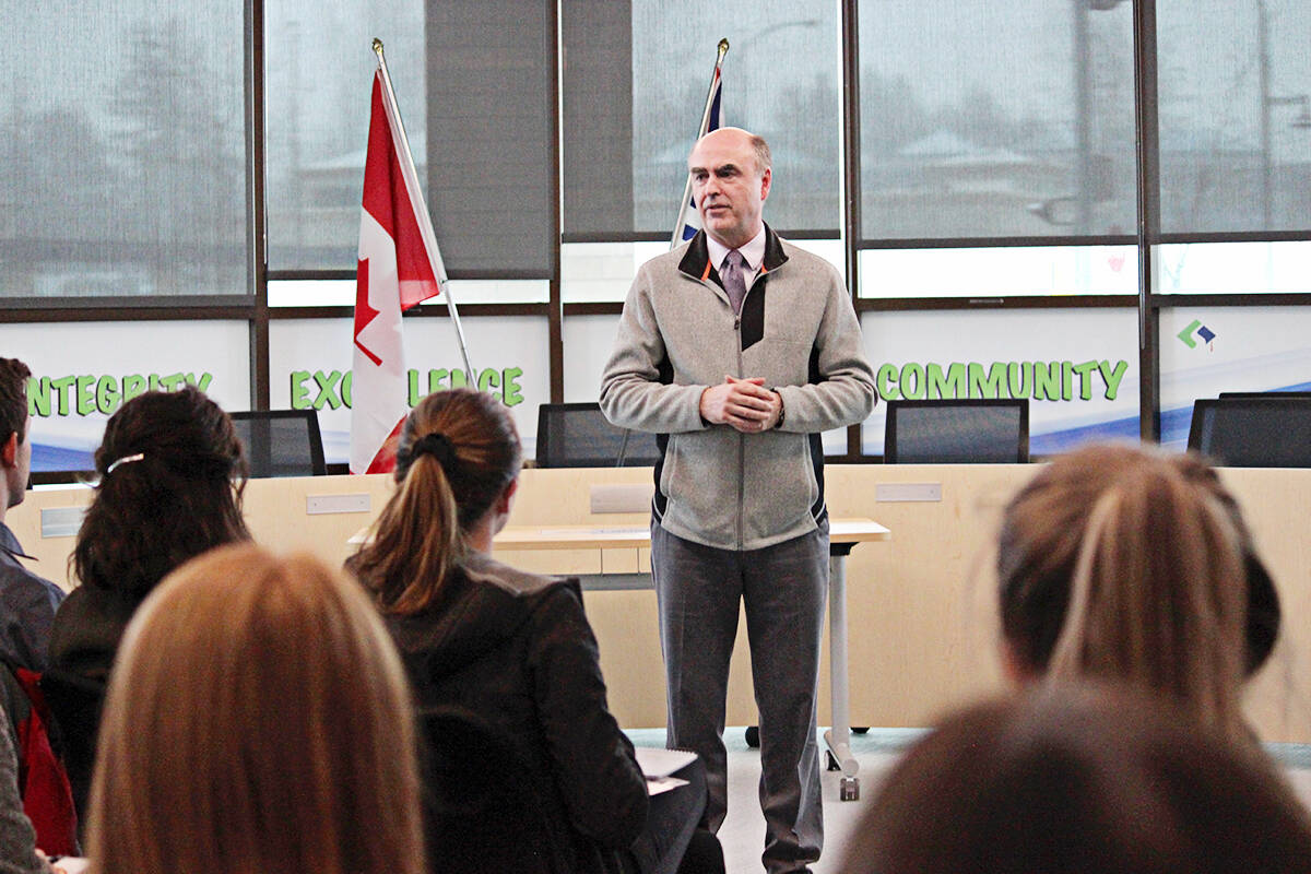Superintendent Gord Stewart spoke to about 75 teacher candidates in early 2019, as the growing district worked to recruit more teachers. (Joanne Abshire/Langley School District)