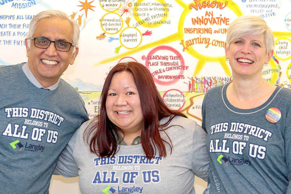 """Mal Gill, assistant superintendent of schools, Joanne Abshire, communications manager, and Renge Bailie, district principal of student support services, wore shirts that say """"The District Belongs to All of Us"""" to acknowledge Diversity and Respect Week in 2020. (School district file photo)"""