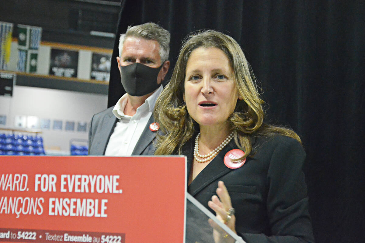 Liberal deputy PM Chrystia Freeland with Cloverdale-Langley City candidate John Aldag at the LEC on Friday. (Matthew Claxton/Langley Advance Times)