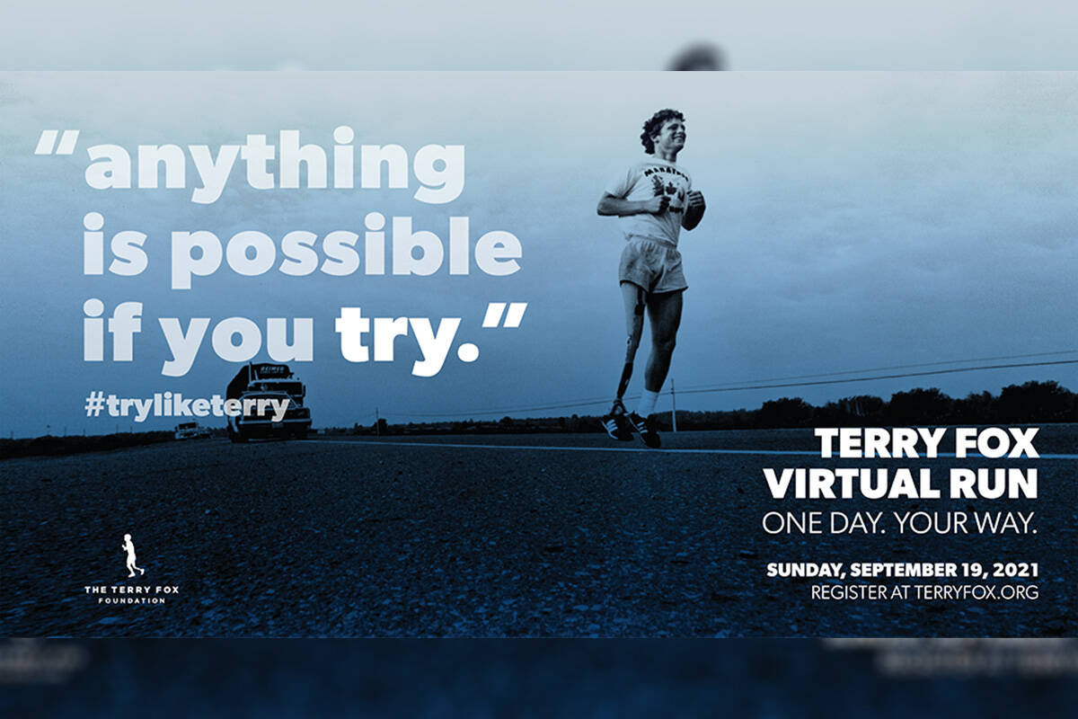Terry Fox Run will be held virtually on Sept. 19, 2021. (Terry Fox Foundation/Facebook)