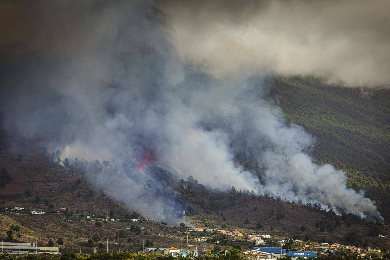 Smoke rises at the Cumbre Viegja volcanic on the island of La Palma in the Canaries, Spain, Sunday, Sept. 19, 2021. A volcano on Spain's island of La Palma eruption Sunday after a weeklong buildup of seismic activity, prompting authorities to start an evacuation plan expected to effect around 1,000 people. (AP Photo/Jonathan Rodriguez)