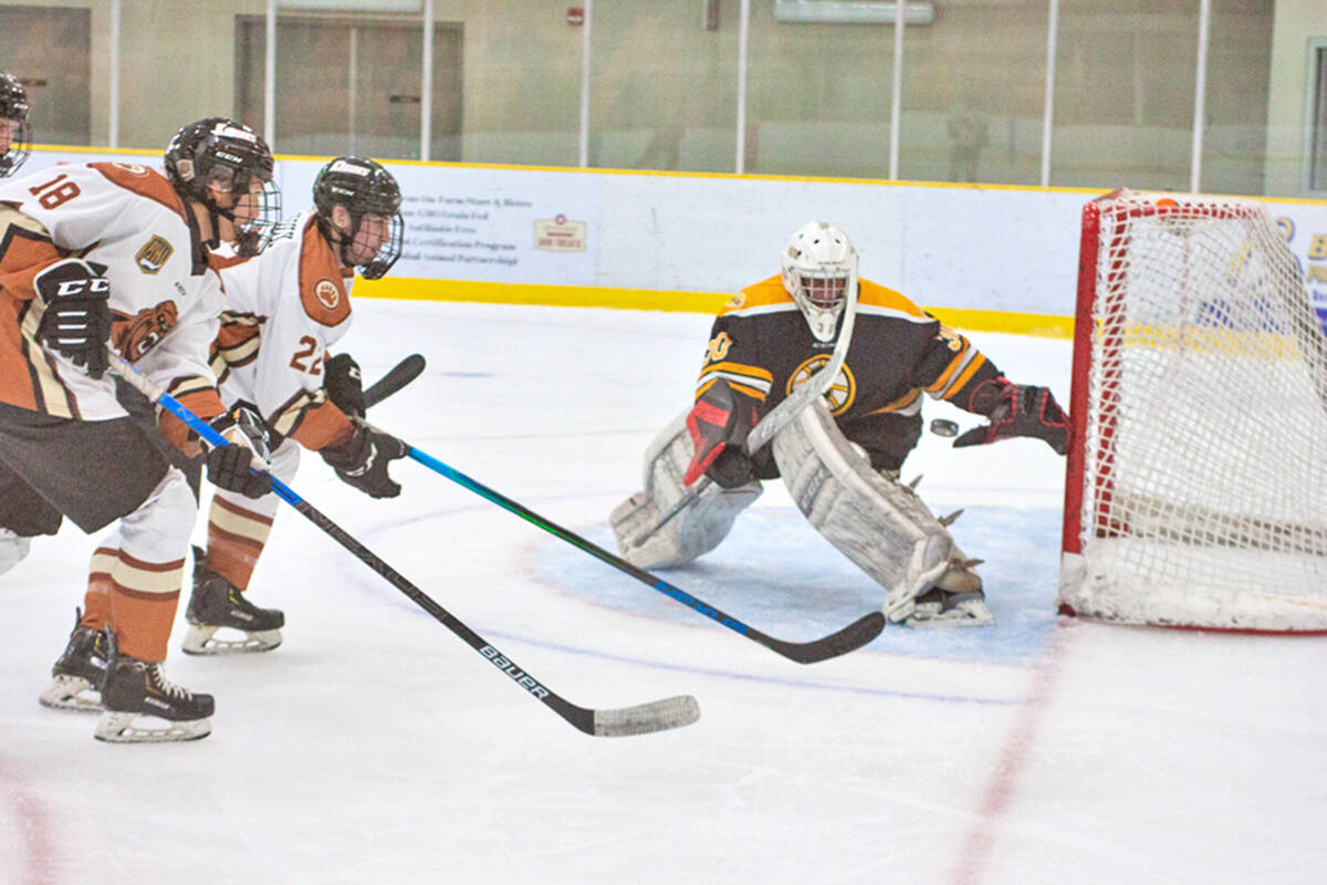 Kodiaks Kale Taylor and Connor Droux charged the goal during a battle with the Grandview Steelers at home in Aldergrove on Sept. 15. (Kurt Langmann/special to Langley advance Times)